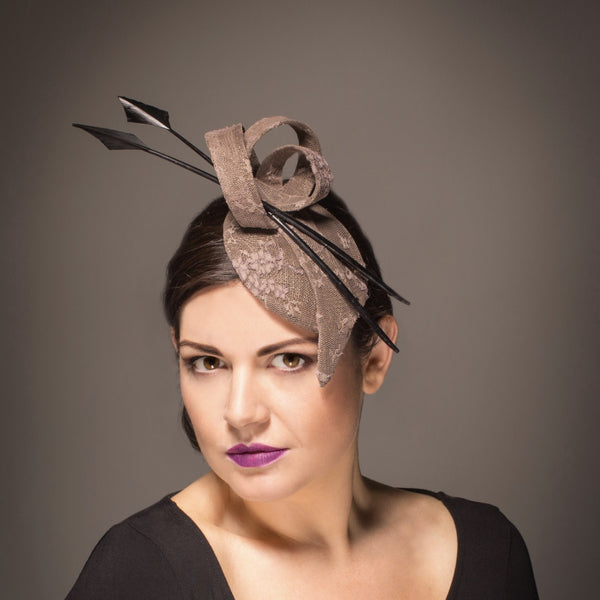 nude and black wedding fascinator hat