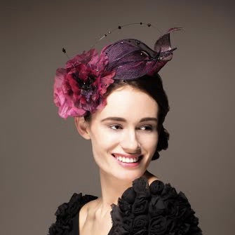pink poppy fascinator hat for wedding or Royal Ascot