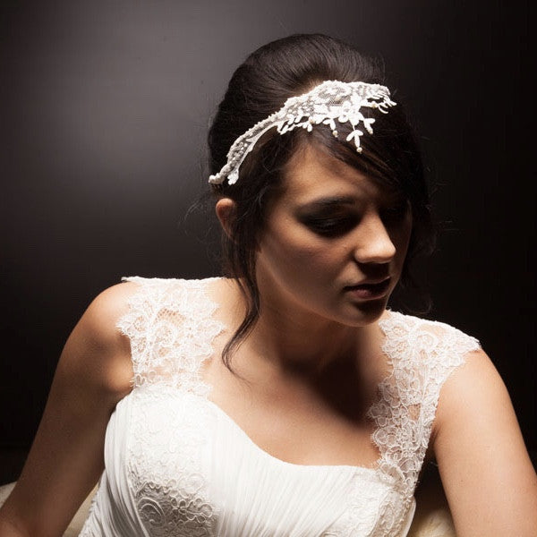 Vintage lace and pearl bridal tiara