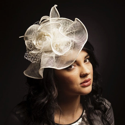 Ivory wedding hat/ fascinator