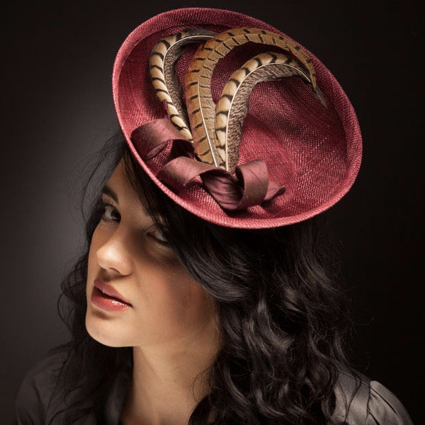 Deep red burgundy hat with pheasant feathers