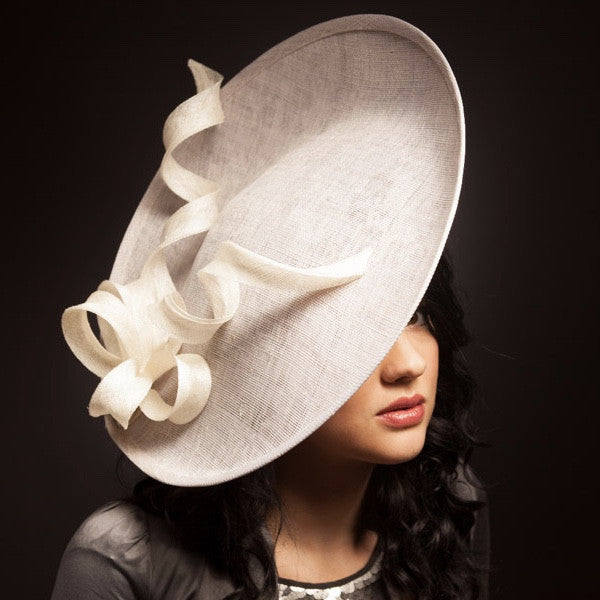 Pastel grey and ivory large hat for Royal Ascot or mother of the bride
