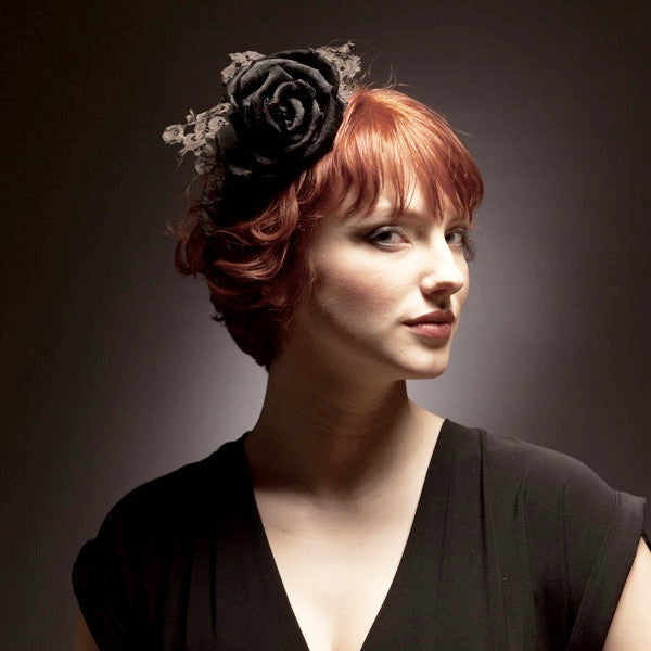 Black rose fascinator with lace