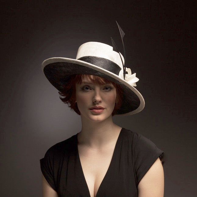black and white monochrome large hat Royal Ascot and mother of the bride