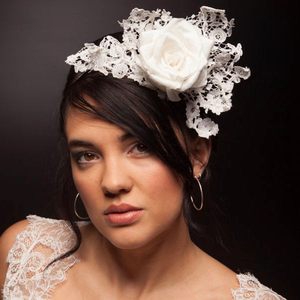 Ivory rose and lace headpiece or fascinator