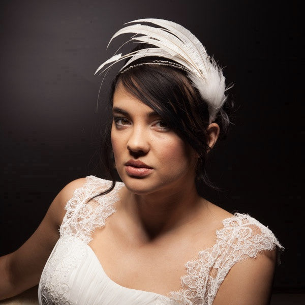 Ivory feather headband or bridal headpiece