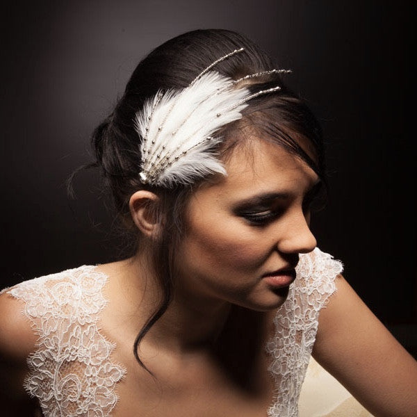 Ivory beaded feather headpiece for bridal