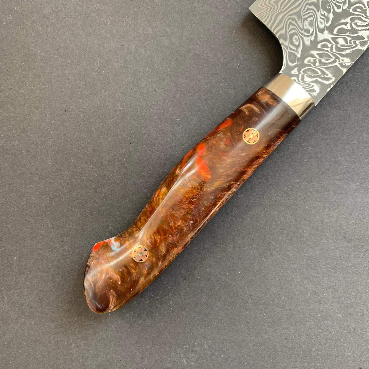 Gyuto knife, SG2 powder steel, damascus finish, custom acrylic handle (Amber) - Kato
