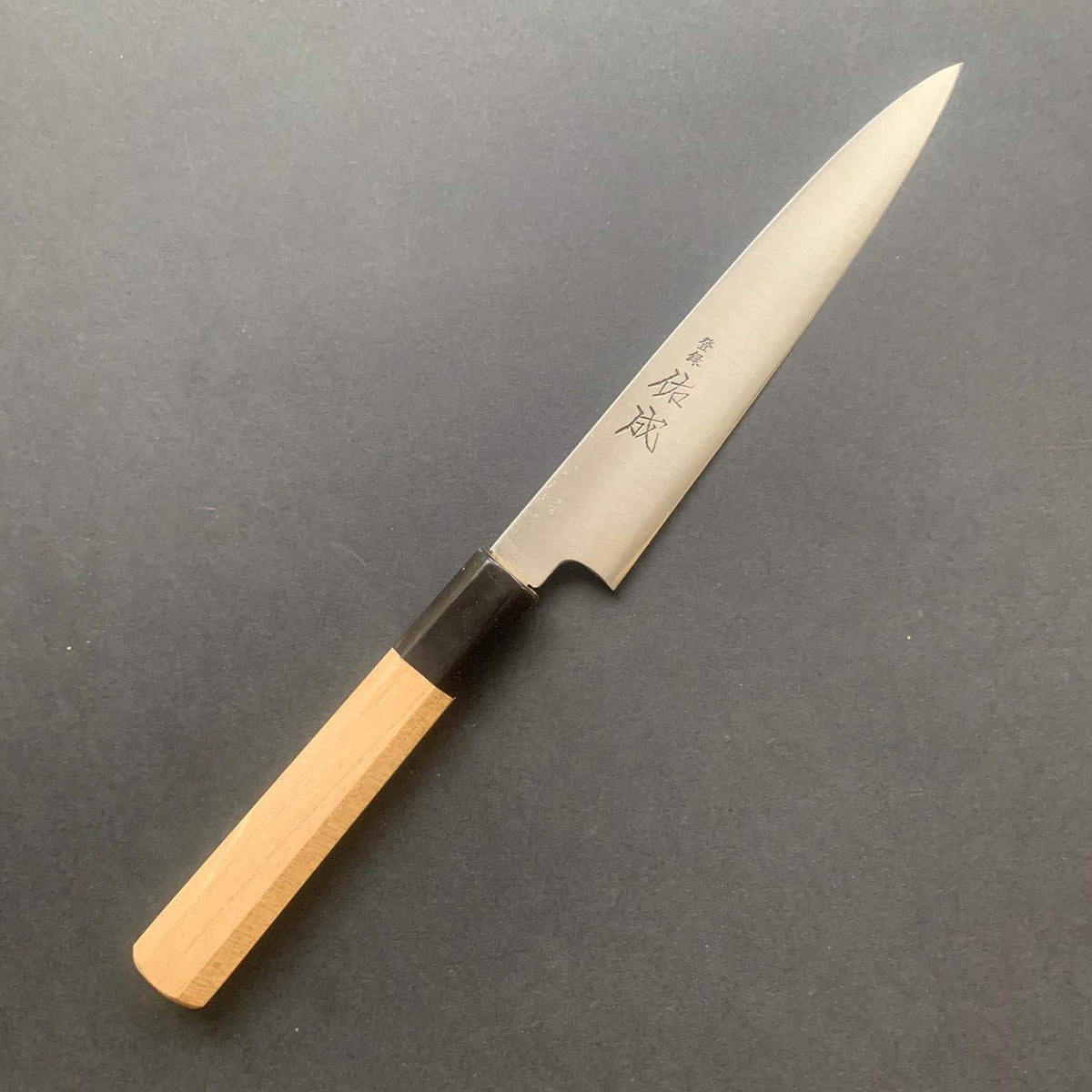 Petty knife, Aogami super with stainless cladding, migaki finish - Sukenari