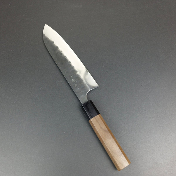 Santoku knife, Aogami 2, kurouchi and tsuchime, single bevel - Ittetsu