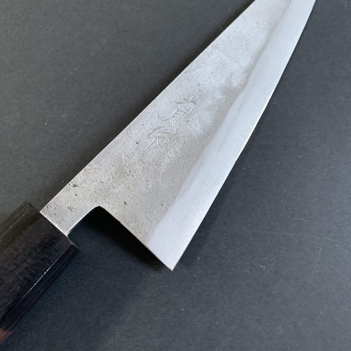 Honesuki knife, Shirogami 1 with stainless steel cladding, nashiji finish - Goko