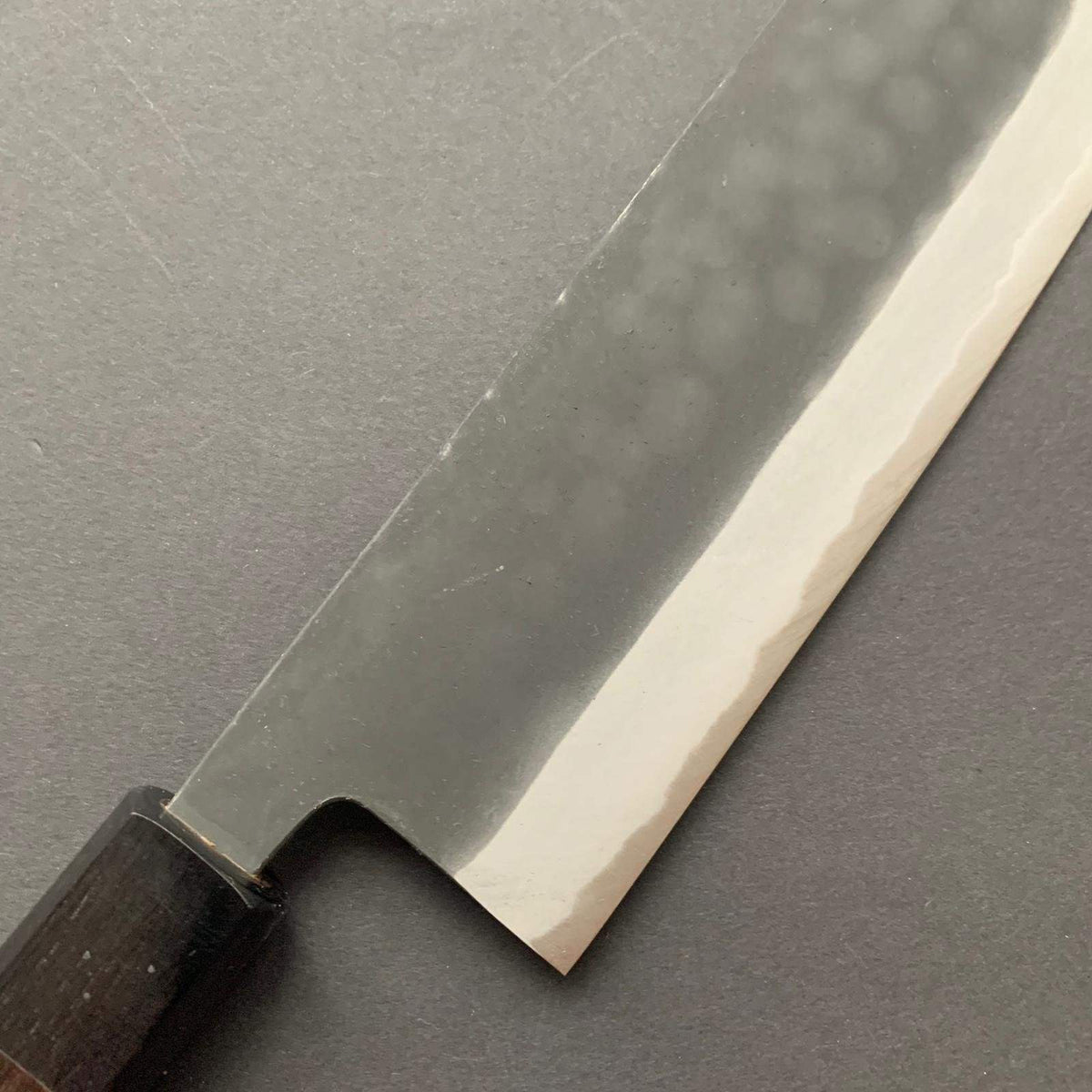 Nakiri knife, Aogami 2 with iron cladding, kurouchi finish - Kamo
