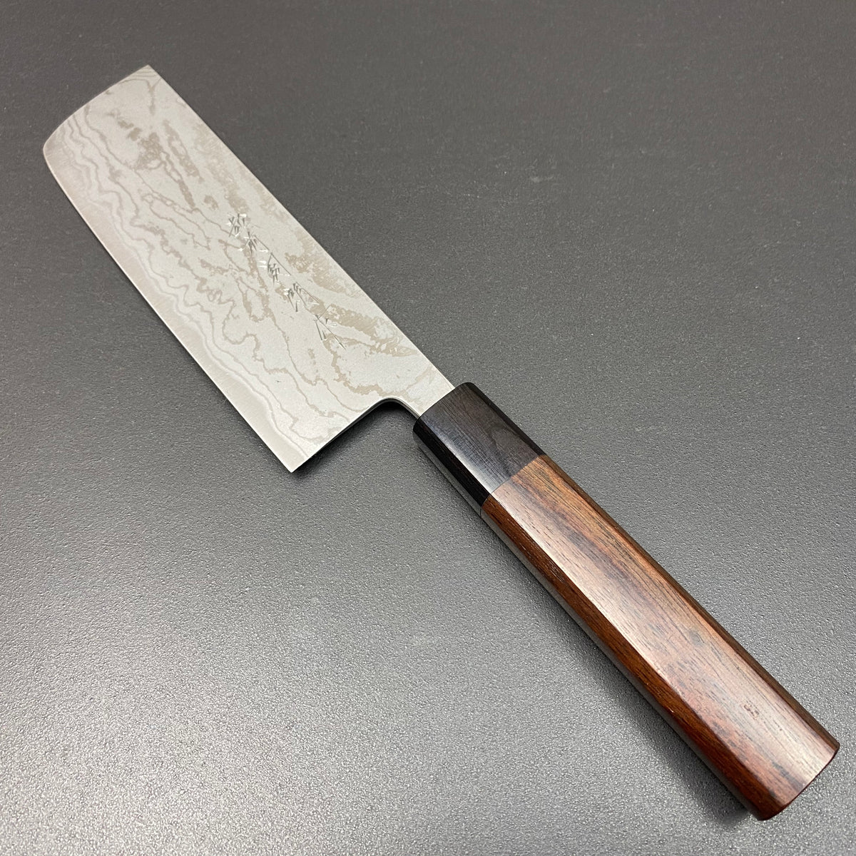 Nakiri knife, Shirogami 2 iron-clad, Suminigashi finish, 165mm- Kamo