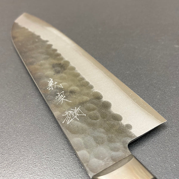 Santoku knife, aogami super, ss-clad, 165mm, tsuchime finish - Kato