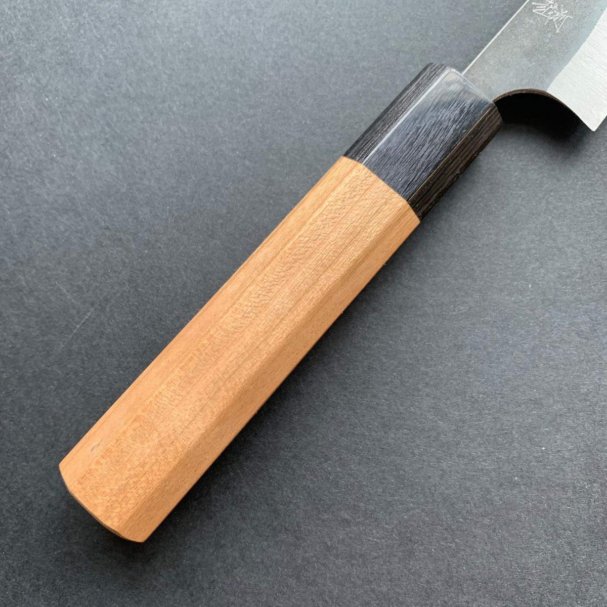 Petty knife, Aogami super with stainless steel cladding, kurouchi finish - Kanehiro