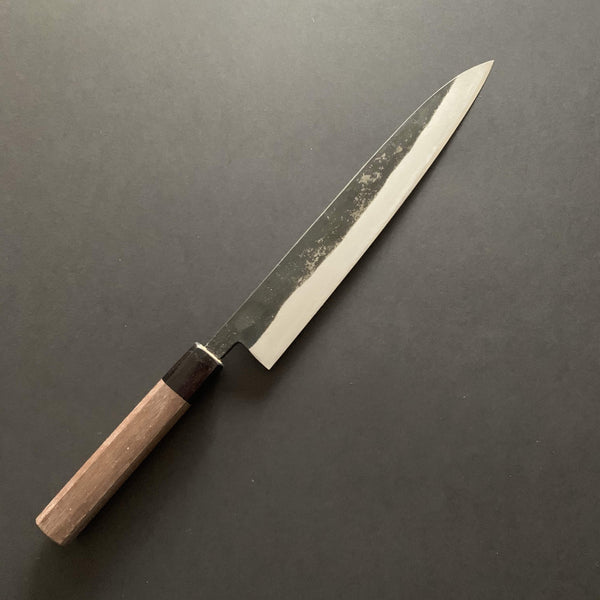 Double bevel Yanagiba knife, shirogami 1, kurouchi finish - Nishida