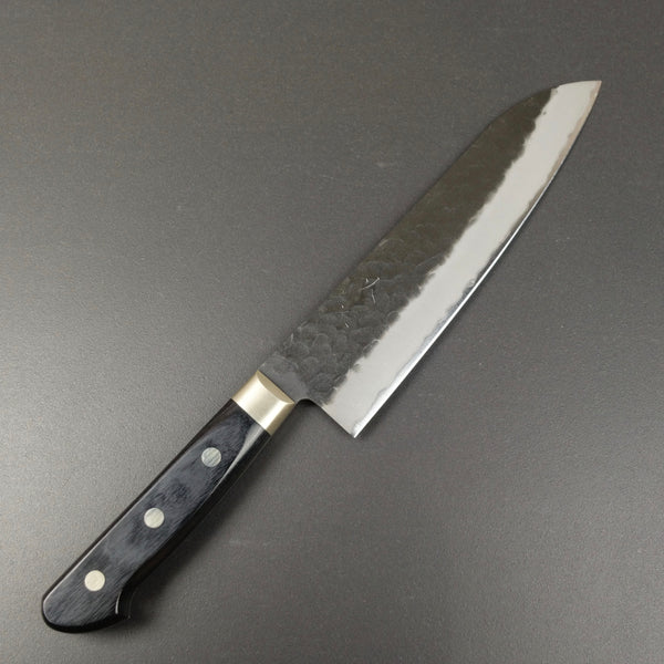 Santoku Knife, 180 mm , Aogami Super stainless clad, Kurouchi and Tsuchime finish - Ohishi