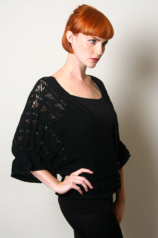 Frill Knit Cardigan Black