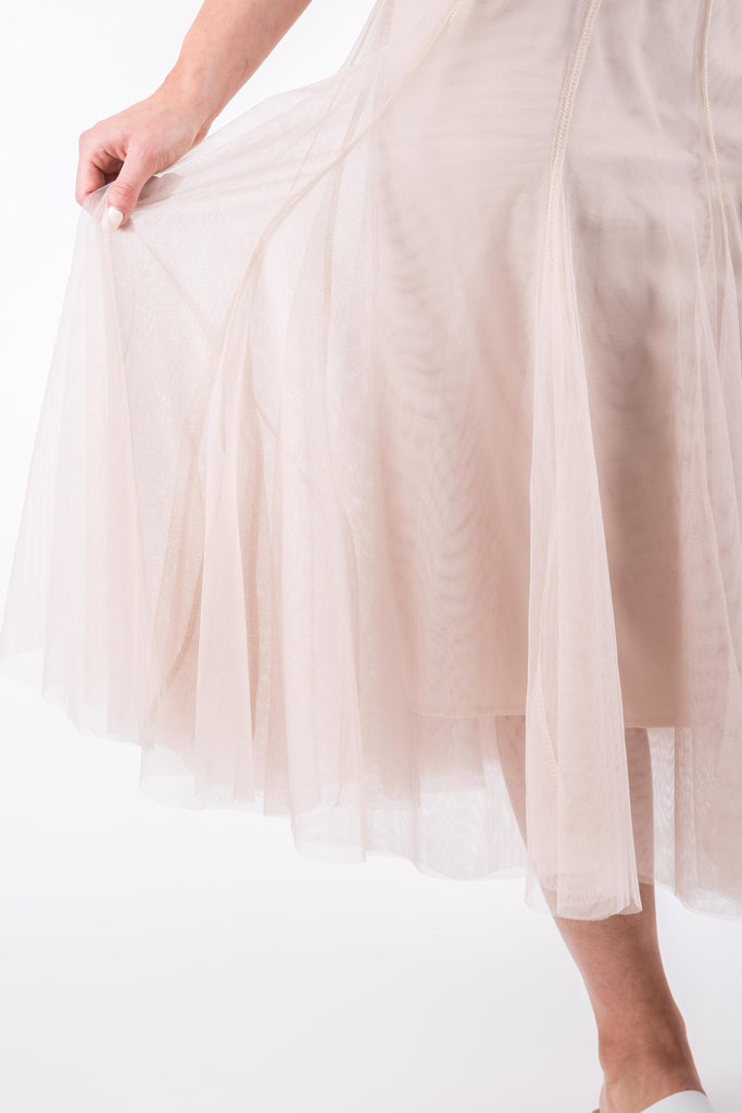 FLARED MESH SKIRT BEIGE
