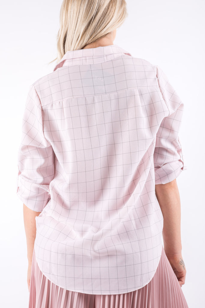 LAURA CHECKED BLOUSE PINK