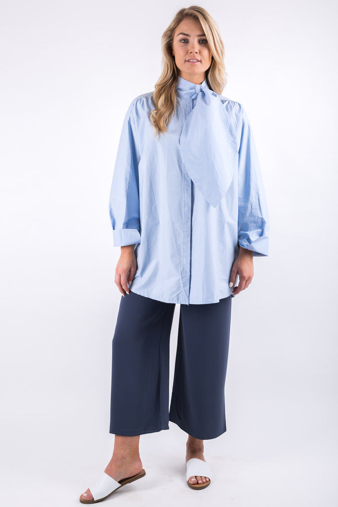 BOW NECK BLOUSE BLUE
