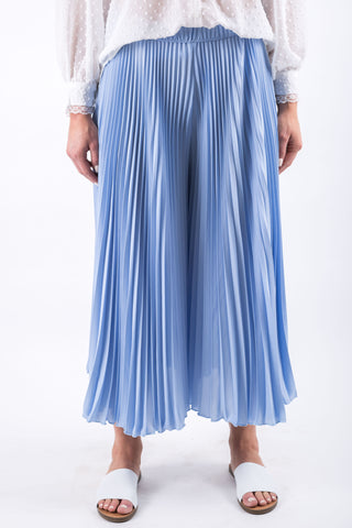 WIDE PLEATED PANTS BLUE