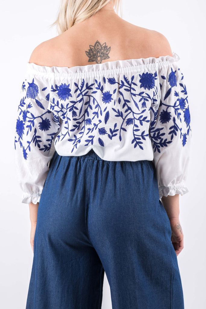 EVELYN EMBROIDERY TOP WHITE