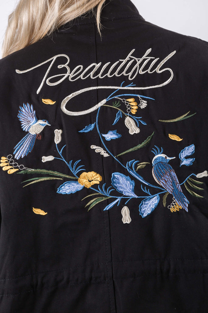 HAILEY EMBROIDERY JACKET BLACK