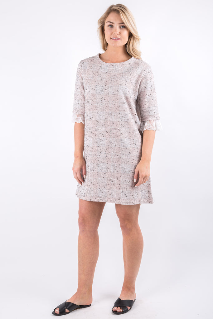 TWEED CHECKED DRESS PINK