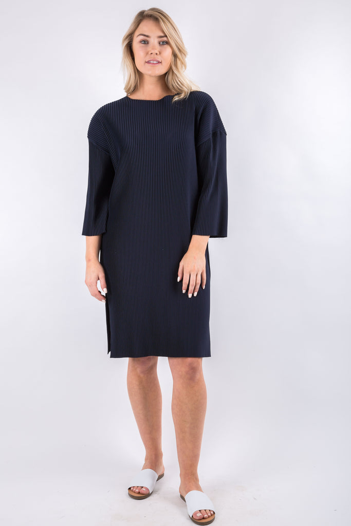 MAY PLEATED DRESS NAVY
