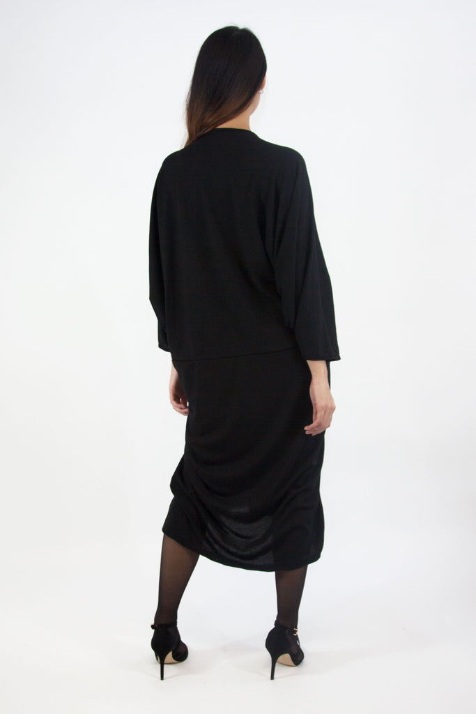 Angelina Draped Dress Black