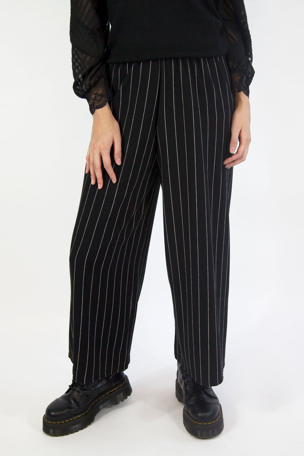 Eva Stripe Trousers Black