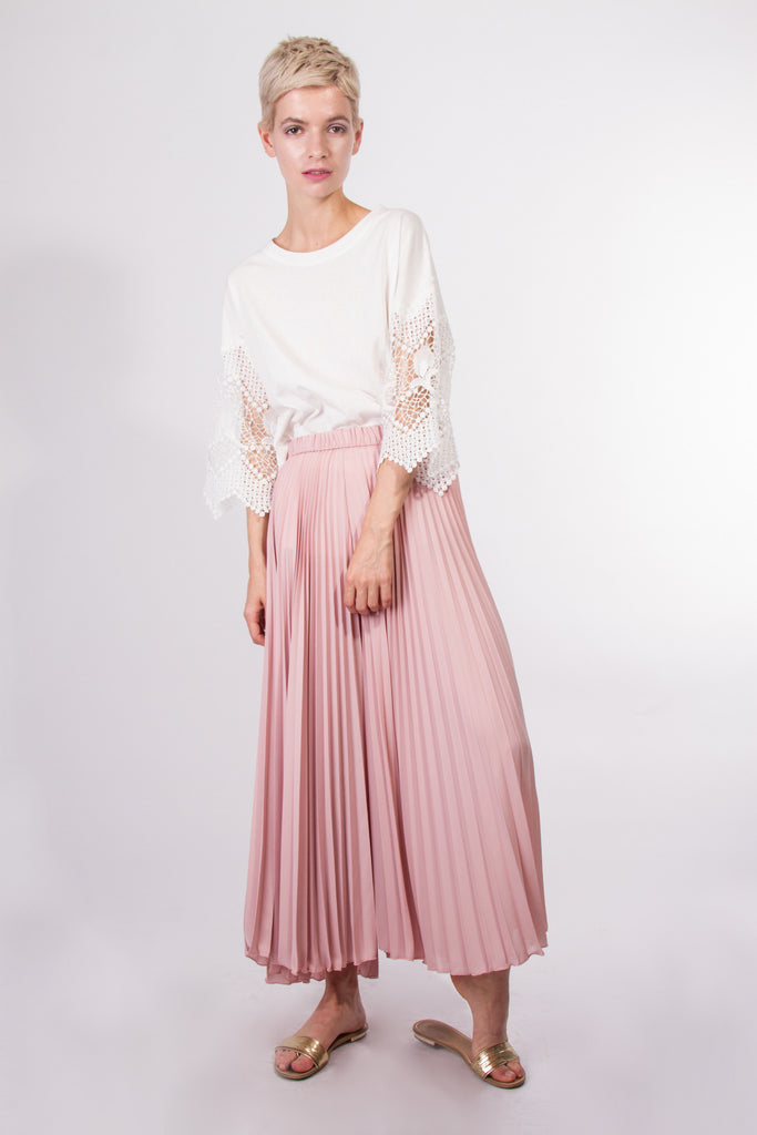 Wide pleated pants pink