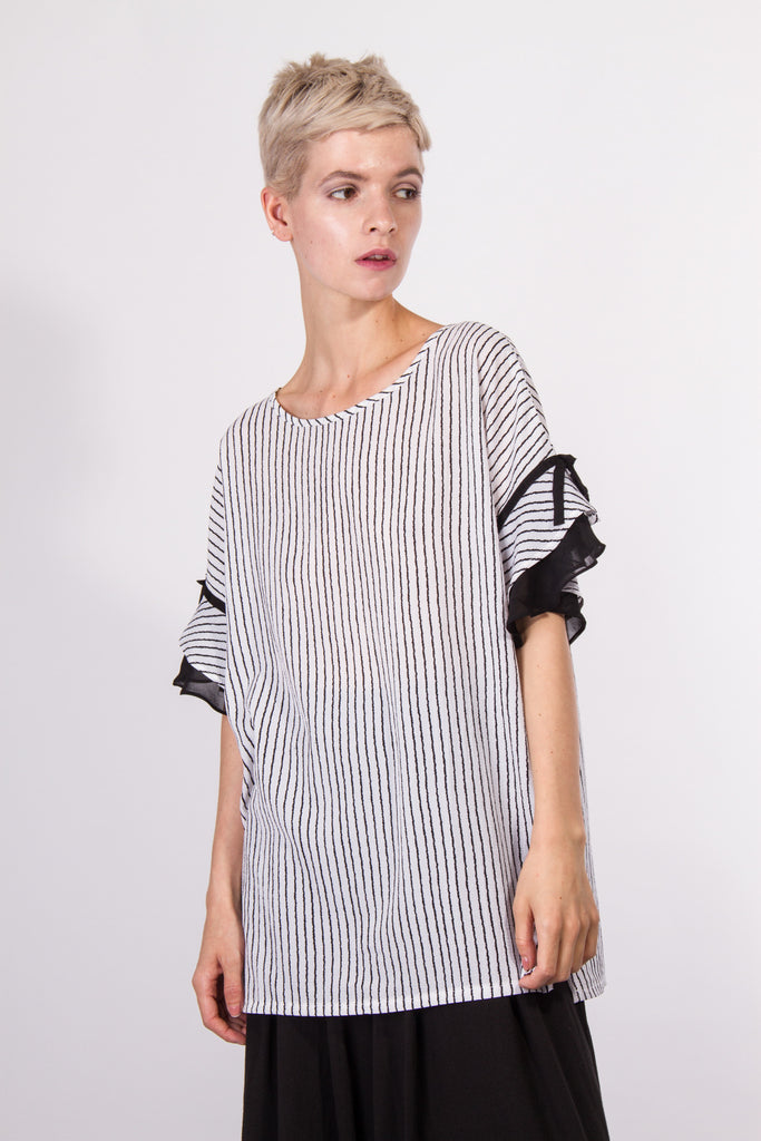 Sierra Stripe Top White
