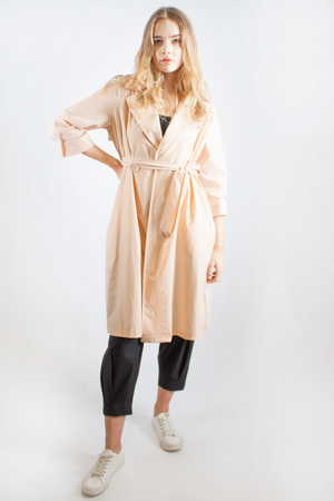 PLEATED TRENCH COAT PINK