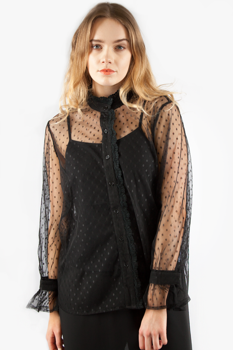 DOT MESH BLOUSE BLACK