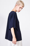 lucy pleated top navy
