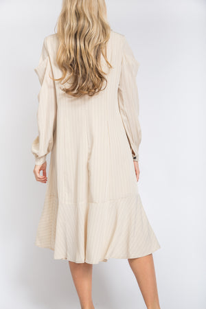 Pintuck Sleeve Coat Ivory