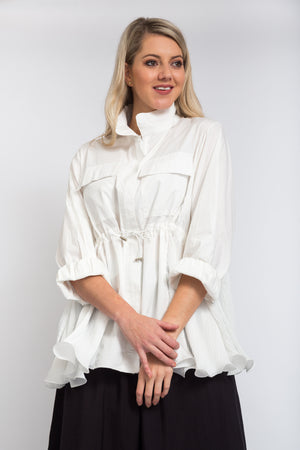 Side Pleated Jacket Ivory