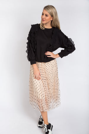 Wavy Ruffle Jumper Black