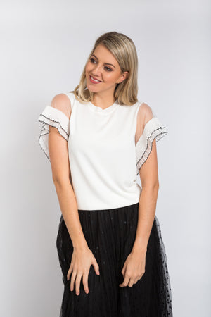 Wing Knit Top Ivory