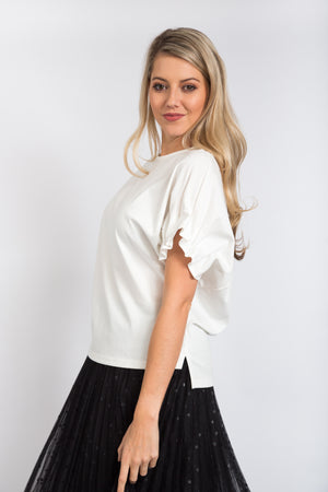 Pintuck Sleeve Top Ivory