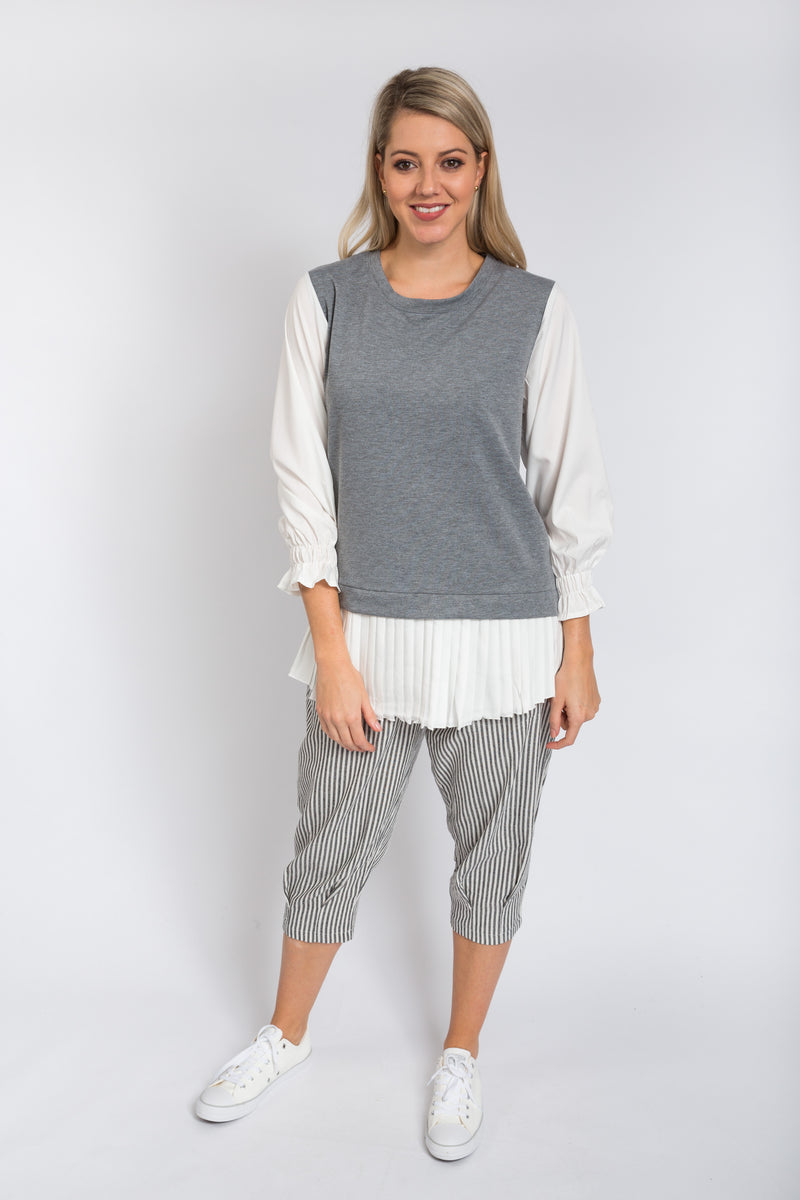 Pleats Layered Tunic Grey