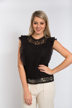 Michelle Lace Blouse Black