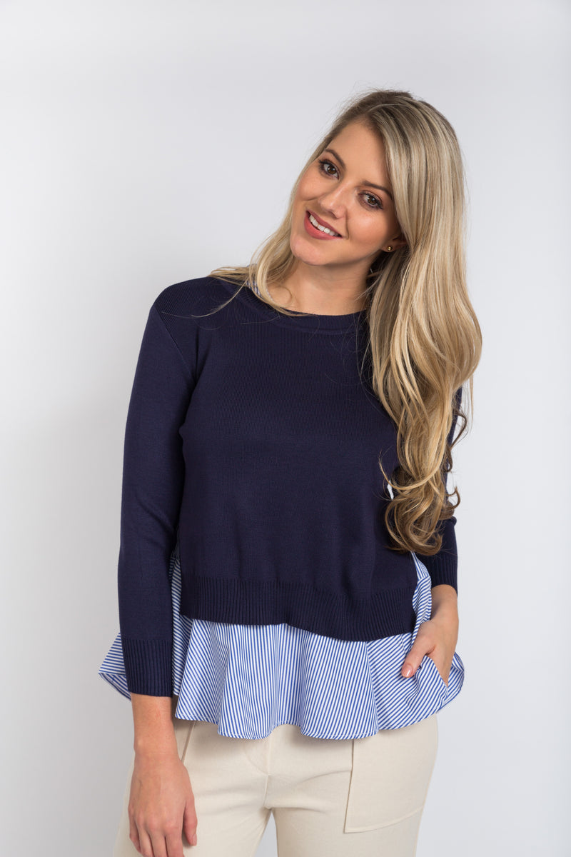 Layered Peplum Top Navy