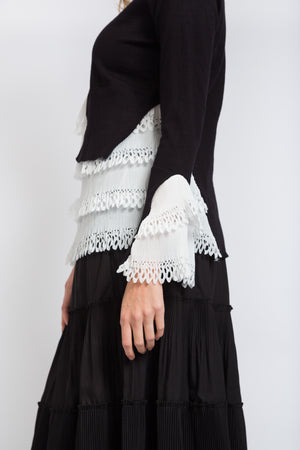 Eyelet Layered Jumper Black