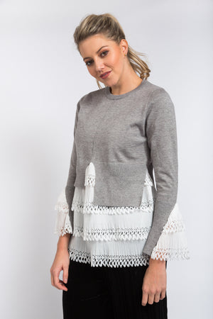 Eyelet Layered Jumper Grey