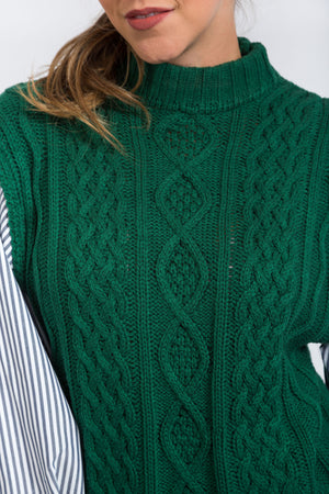 Stripe Sleeve Jumper Green