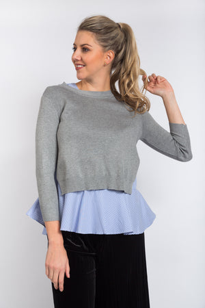 Layered Peplum Top Grey