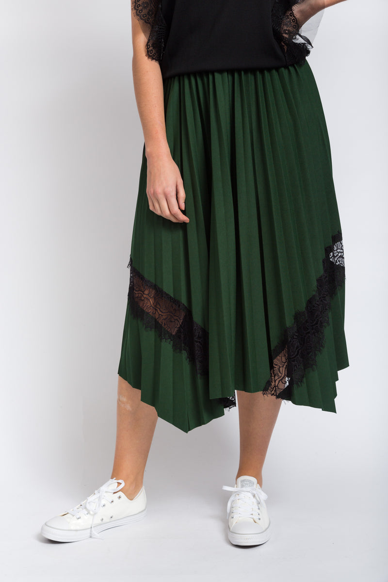 Lace Insert Skirt Green